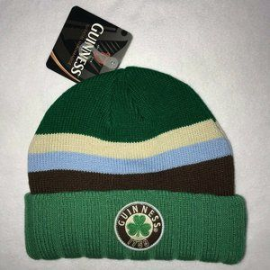NWT Guiness Beer Green Striped Beanie One Size